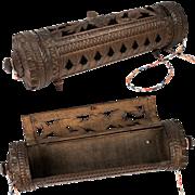 "Rare Antique Hand Carved Black Forest Pot Pouri Hanging Box, 9"", Unique Alpine Item!"