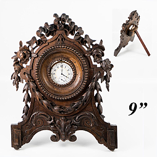 """Superb Antique Hand Carved Wood French or Black Forest Pocket Watch Stand, 9"""" Tall"""