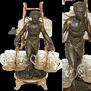 RARE Antique French Blackamoor Liqueur Cabaret, Caddy or Tantalus, Napoleon III