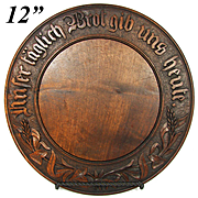 """Antique European Carved Wood Bread Board: """"Give Us This Day Our Daily Bread"""" in German"""