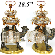 "Antique French Liqueur Set, 18.5"" Tall Tantalus, Figural Camel & 2 Barrels, 12 Cups"