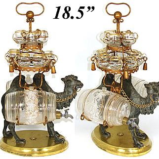 """Antique French Liqueur Set, 18.5"""" Tall Tantalus, Figural Camel & 2 Barrels, 12 Cups"""
