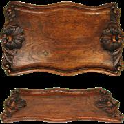 "Wonderful Antique Victorian Era Hand Carved Oak Serving Tray, Seashells, 17.5"" long"