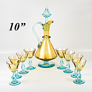 Antique French Liqueur Aperitif Decanter & Cordial Stems,  Likely George Sand Art Glass