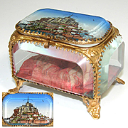 "Lovely Antique French Eglomise Paris Souvenir Casket, Box: ""Mont St Michel"""