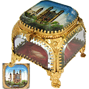 "Antique French Eglomise Paris Souvenir Casket, Box: ""Souvenir De Notre Dame De Fourviere"""