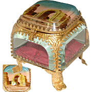 "Lovely Antique French Eglomise Souvenir Casket, Box: ""St Remy de Provence - Les Ruines"""