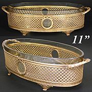 "Elegant Antique to Vintage French Empire Style 11"" Gilt Ormolu & Glass Jardiniere, Centerpiece"