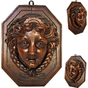 "Fabulous Antique French Carved 9.5"" Figural Wall Hanging, Plaque, Match, Toothpick or Spill Holder"