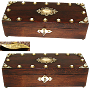 Fab Antique Victorian Era French Rosewood Jewelry Casket, Mother of Pearl Accents, Key, Reuge Music Box