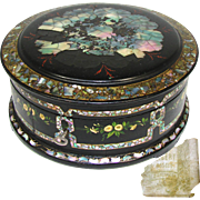 "RARE Antique Russian Marked Papier Mache 8"" Round Box, Casket: Hand Painted & Mother of Pearl Inlay"