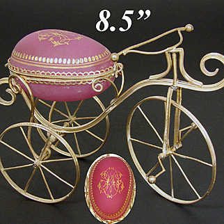 "Rare Antique French Pink Opaline Glass & Gilt Ormolu 8.5"" 'Egg' Casket, Unique 3-Wheel Bicycle Form"
