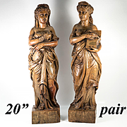 "Stunning Antique French Hand Carved Wood Classical Figures, 20"" Tall Pair Caryatid, Sculpture"