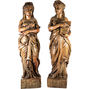 """Stunning Antique French Hand Carved Wood Classical Figures, 20"""" Tall Pair Caryatid, Sculpture"""