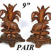 """8.75"""" Tall Antique Black Forest Carved Candle or Epergne Stands, Rare HARE or Rabbit Figures"""