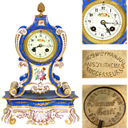 "Antique French Porcelain 14"" Mantel Clock, Gold Enamel, HP Flowers: Maison Raison Franjus & Thomas"