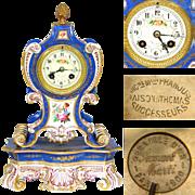 """Antique French Porcelain 14"""" Mantel Clock, Gold Enamel, HP Flowers: Maison Raison Franjus & Thomas"""