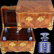 "Antique French Tahan? 12"" Jewelry & Vanity Chest, Kingwood & Gilt Ormolu, 4pc Cut Crystal Perfume Bottles"