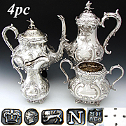 Exquisite Antique English Sterling Silver & SP 4pc Coffee & Tea Set, Figural Mascarons