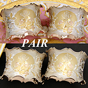 """Rare Pair of Antique to Vintage French Vermeil Napkin Rings, """"His"""" & """"Her"""" Monograms & Unique Shaping"""