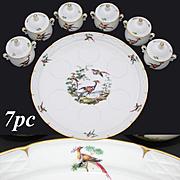 """Vintage French Porcelain 7pc Pot de Creme Set, Exotic Bird Decoration, 10 5/8"""" Tray"""