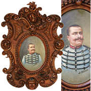 "Hand Carved Antique Black Forest Frame, 22"",  with Military Portrait in Oil, Signed B. RUFFINI, 1906"
