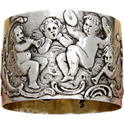 Antique Continental .800 (nearly sterling) Silver Napkin Ring, Winged Cherub or Putti Figures w/ Musical Instruments