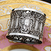 """Gorgeous Antique French Sterling Silver Napkin Ring: RARE Ornate GOTHIC Style, """"AD"""" Monogram"""