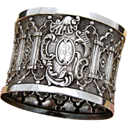 "Gorgeous Antique French Sterling Silver Napkin Ring: RARE Ornate GOTHIC Style, ""AD"" Monogram"