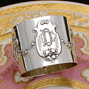 """Gorgeous Antique French Sterling Silver Napkin Ring: Mascaron Bas Relief, """"CD"""" or """"DC"""" Monogram"""