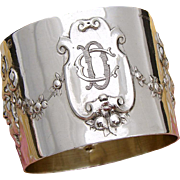 "Gorgeous Antique French Sterling Silver Napkin Ring: Mascaron Bas Relief, ""CD"" or ""DC"" Monogram"