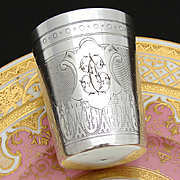 """Antique French Sterling Silver Wine or Mint Julep Cup, """"Timbale"""" with Guilloche Decoration & """"TC"""" Monogram"""