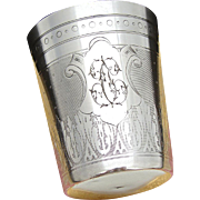 "Antique French Sterling Silver Wine or Mint Julep Cup, ""Timbale"" with Guilloche Decoration & ""TC"" Monogram"