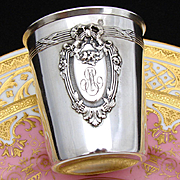 Antique French Sterling Silver Wine or Mint Julep Cup or Timbale, Bow & Ribbon, Laurel & Acanthus