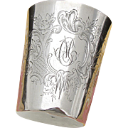 "Antique French Sterling Silver Wine or Mint Julep Cup, Tumbler or ""Timbale"", C.M. Monogram"