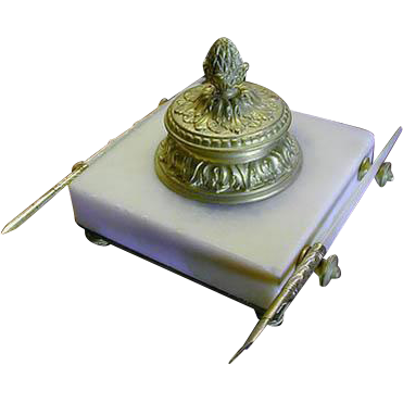 Superb 19c French Ormolu/Alabaster Inkwell