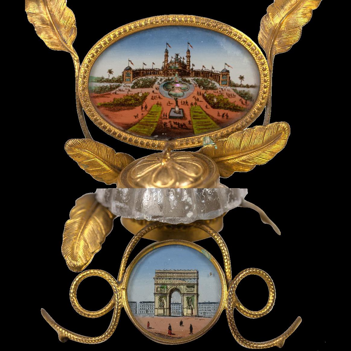 1889 Paris Expo Souvenir Eglomise Painting Inkwell - Trocadero & Arch de Triomphe, Grand Tour Souvenir