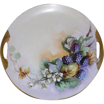 "Vintage Hand Painted 10 1/4"" Cake Platter, HP Fruit & Foliage"