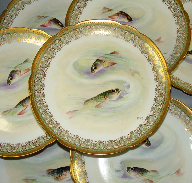 8 Fabulous Antique LIMOGES Gold Encrusted Fish Plates