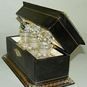 Elegant Antique French Scent Casket, 3 Perfume Bottles - c. 1860 - 1890 Leather clad, gold embossed