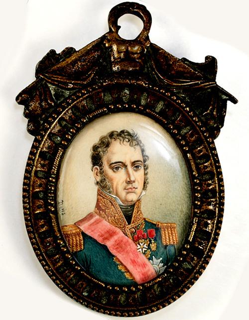 Antique French Miniature Portrait, Napoleon Military Officer