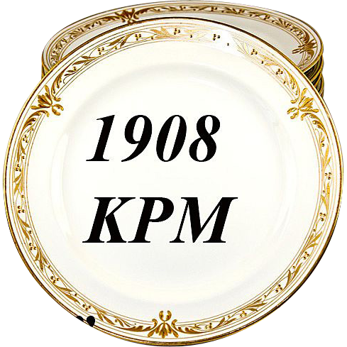 Set of 11 1908 Marked KPM Raised Gold Dinner Plates - Each marked, each excellent, c. 1908