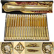 """Gorgeous Antique French 18pc Vermeil Silver 8"""" Knife Set, 18pc with Gordion Knot Pattern"""