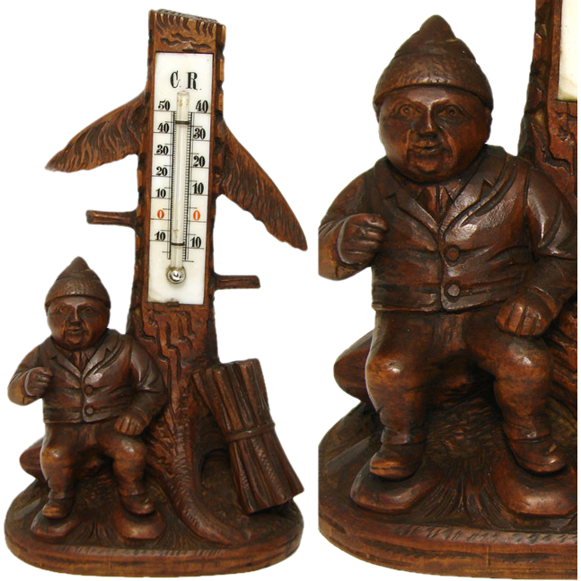 "Antique Black Forest Gnome 8"" Thermometer Stand, a Gnome"