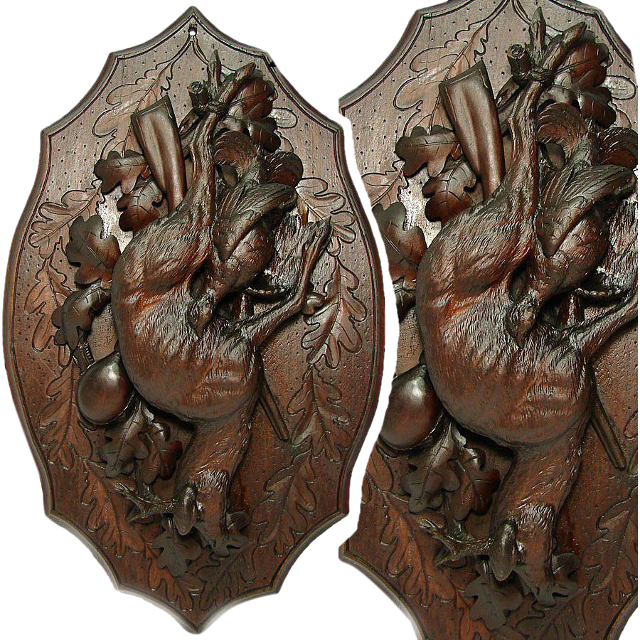 "Antique Black Forest Hunt Themed 24"" Wall Plaque, Deer & Bird: Rifle, Ornate Oak Leaves & Foliage"