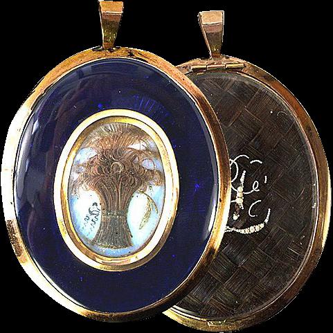 "Antique Georgian Mourning Locket, 3"" 12K Gold Frame."