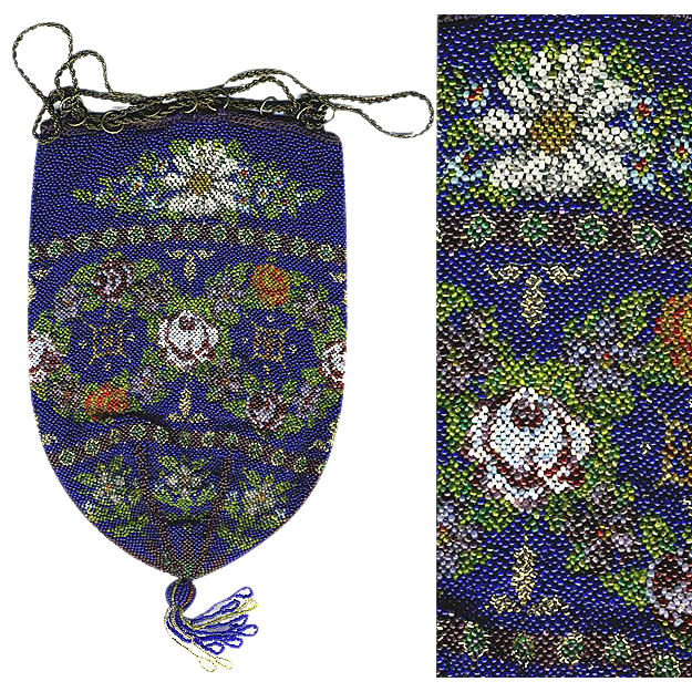 Antique Micro Bead Victorian Beadwork Purse, Bag - Excellent Condition, Cobalt Blue with Florals