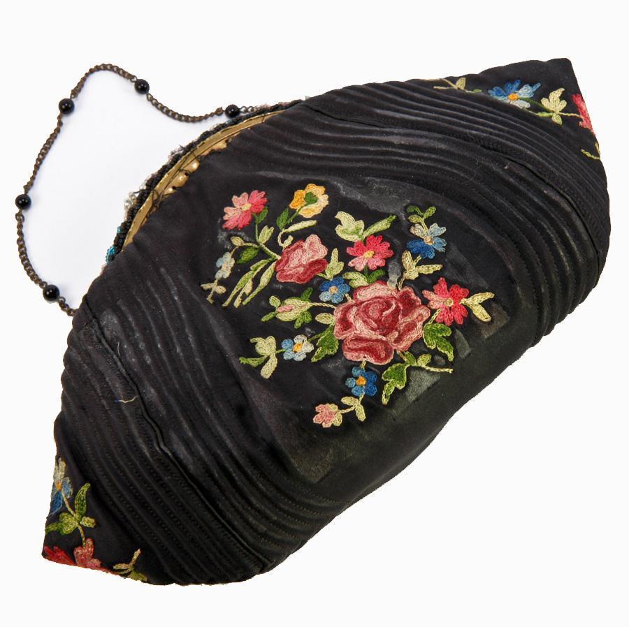 Vintage French Black Silk & Embroidered Evening Bag, Purse, c.1920-40
