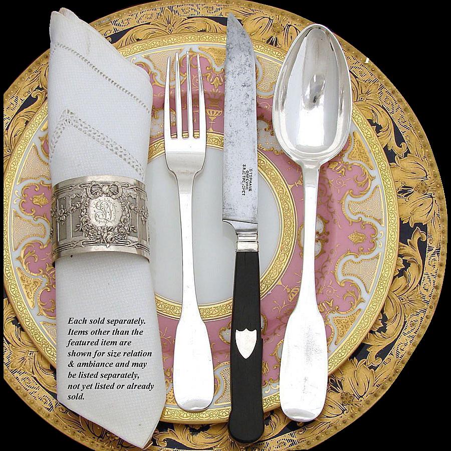 Antique French Ebony Handled 12pc Dinner Knife Set, Silver Inlay & Original Steel Blades