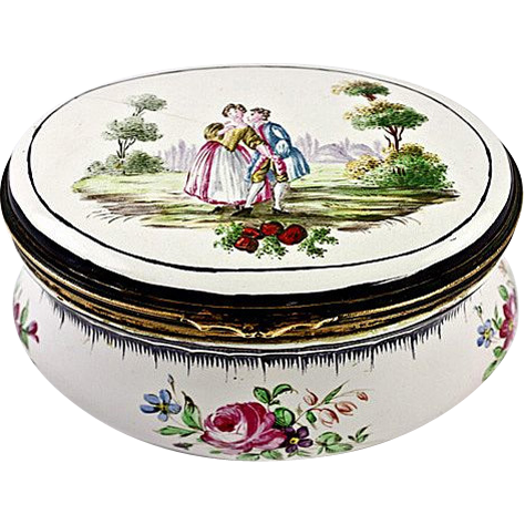Antique Kiln-fired French Enamel Jewelry Casket, Box, Etui, Unique With Figures, Romantic Bonbon